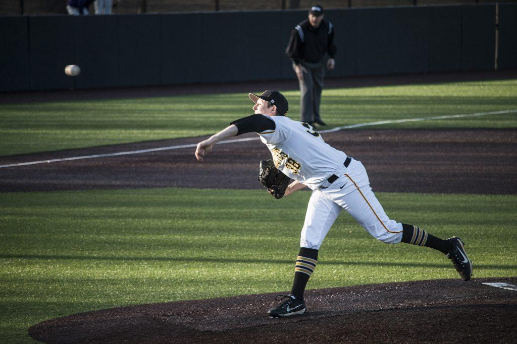 Iowa+pitcher+Trenton+Wallace+throws+the+ball+during+men%27s+baseball+Iowa+vs.+Cornell+at+Duane+Banks+Field+on+Feb.+27%2C+2018.+The+Hawkeyes+defeated+Cornell+15-1.+%28Katina+Zentz%2FThe+Daily+Iowan%29