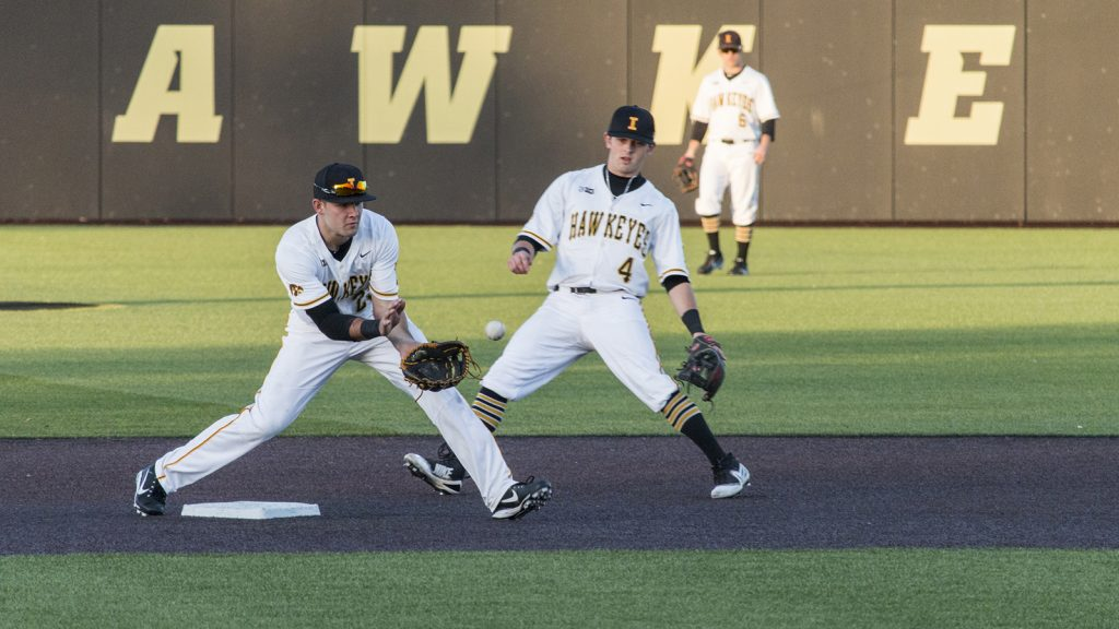 Iowa+infielder+Kyle+Crowl+catches+the+ball+during+men%27s+baseball+Iowa+vs.+Cornell+at+Duane+Banks+Field+on+Feb.+27%2C+2018.+The+Hawkeyes+defeated+Cornell+15-1.+%28Katina+Zentz%2FThe+Daily+Iowan%29