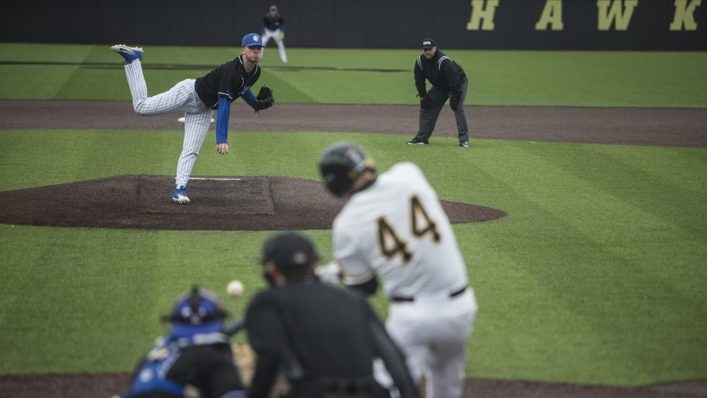Saint Louis pitcher Charlie Sheehan delivers a pitch during the NCAA men's baseball game between Iowa and Saint Louis at Duane Banks Field on Tuesday, March 20, 2018. (Ben Allan Smith/The Daily Iowan)