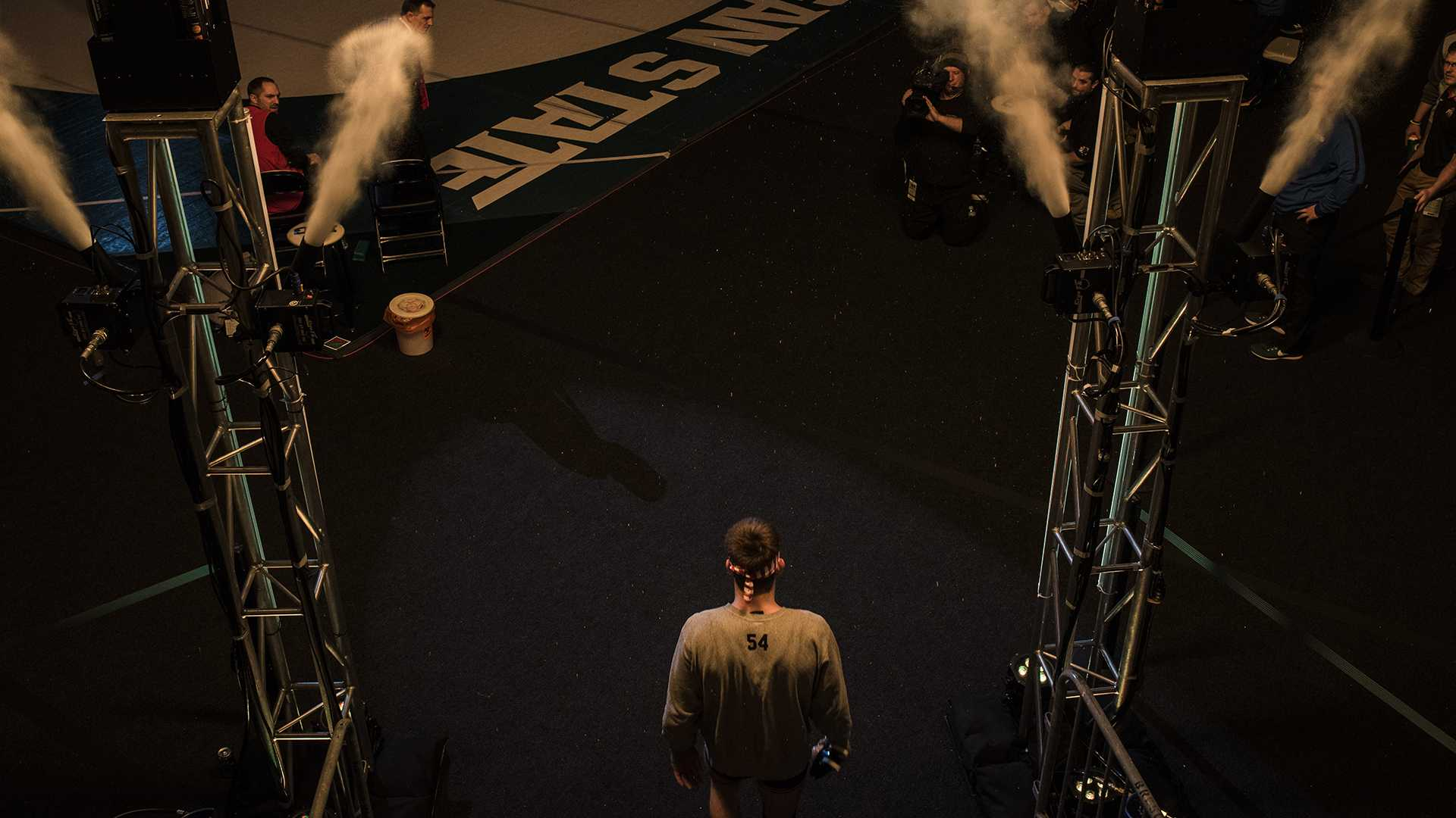 Iowa's 149-pound Brandon Sorensen prepares to walk out for the finals during the Big Ten Wrestling Championships in East Lansing, MI. Sorensen ended up losing to Penn State's Zane Retherford in a decision, 2-0. (Ben Allan Smith/The Daily Iowan)