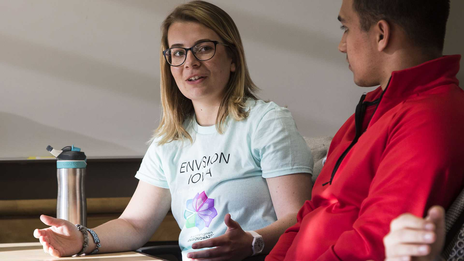 Members of the Envision Iowa party speak in an interview with The Daily Iowan in Adler Journalism Building on Wednesday, March 21, 2018.  (Lily Smith/The Daily Iowan)