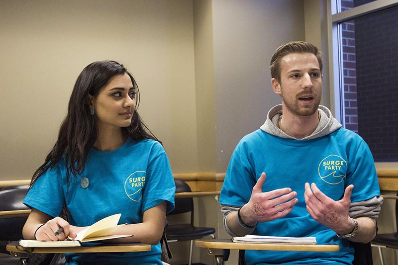 Members of UI's SURGE Party speak in an interview with The Daily Iowan in Adler Journalism Building on Wednesday, March 21, 2018. (Lily Smith/The Daily Iowan)