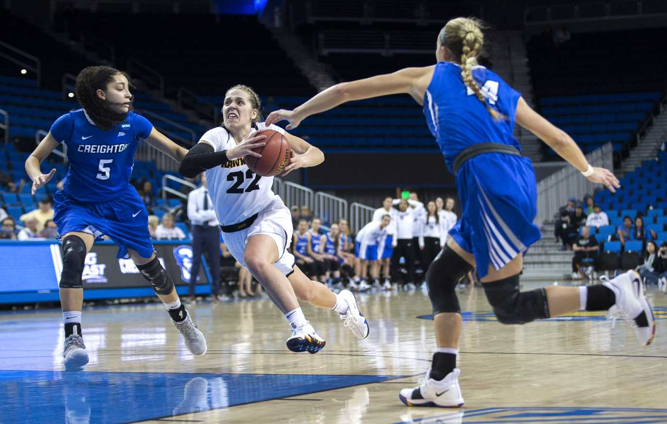 Iowa guard Kathleen Doyle drives to the hoop during the Iowa/Creighton NCAA tournament first round basketball game at Pauley Pavilion on UCLA's campus in Los Angeles on Saturday, March 17, 2018. The Bluejays defeated the Hawkeyes, 76-70. (Lily Smith/The Daily Iowan)