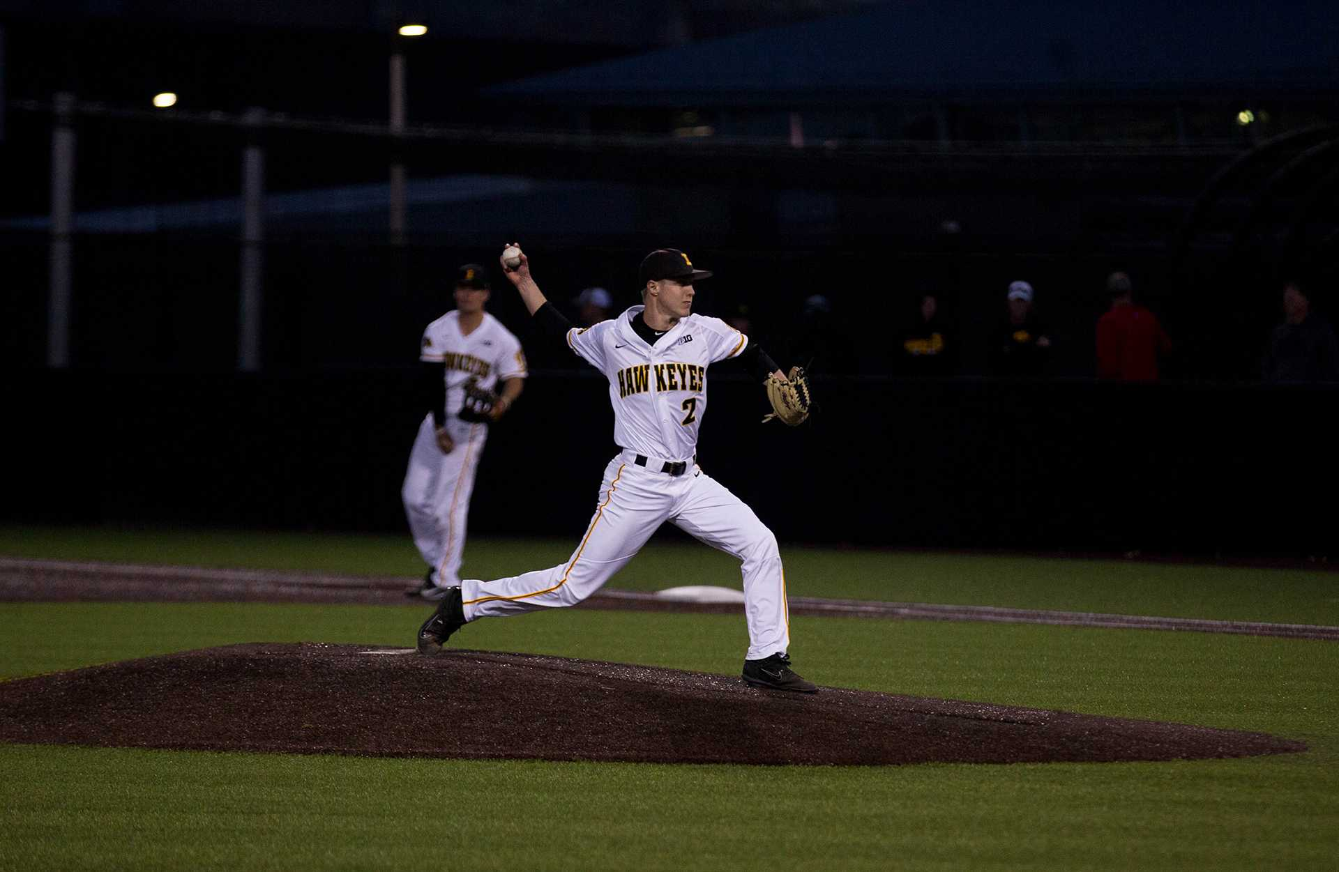 Zach Daniels pitches during Iowa's game against Michigan at Banks Field  on April 27, 2018. The Hawkeyes won the game 4-2. (Megan Nagorzanski/The Daily Iowan)
