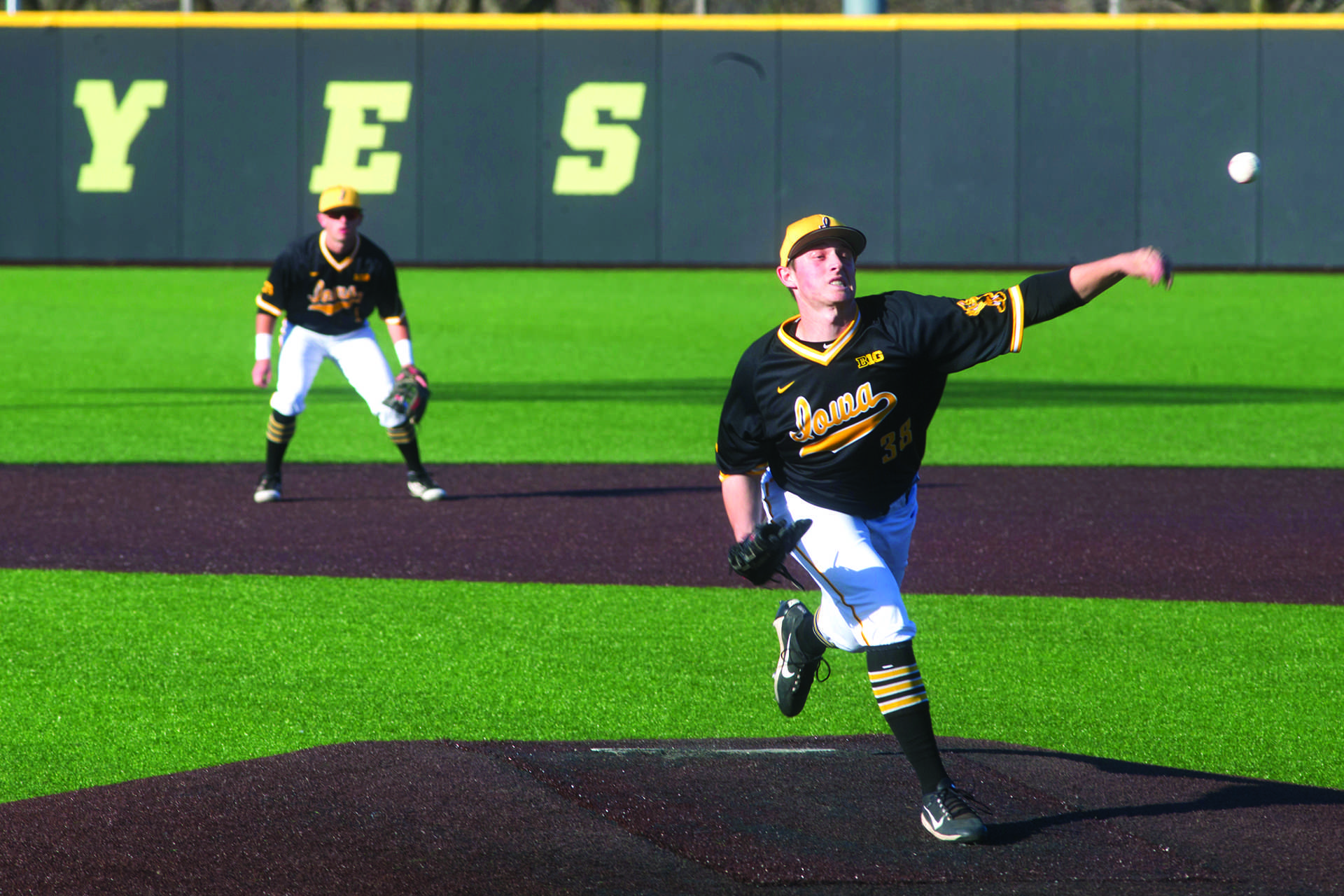 Hawkeye pitcher/outfielder, Freshman Trenton Wallace, warms up during Men's Baseball at Duane Banks Fields on Wednesday Apr. 25, 2018. The Hawkeyes defeated the Panthers 12-4. (Katie Goodale/The Daily Iowan)