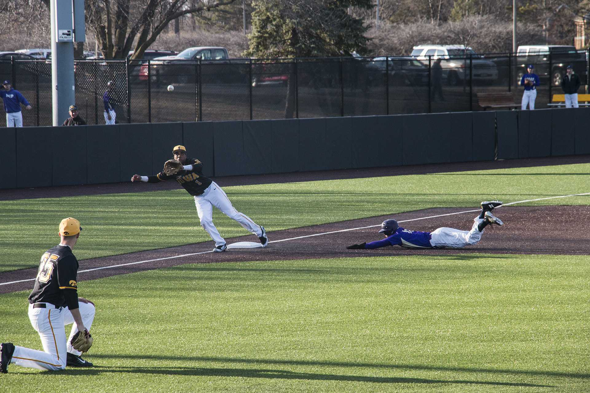 Iowa infielder Lorenzo Elion prepares to catch the ball during men's baseball Iowa vs. Loras at Duane Banks Field on March 21, 2018. The Hawkeyes defeated the Duhawks 6-4. (Katina Zentz/The Daily Iowan) (Katina Zentz/Daily Iowan)