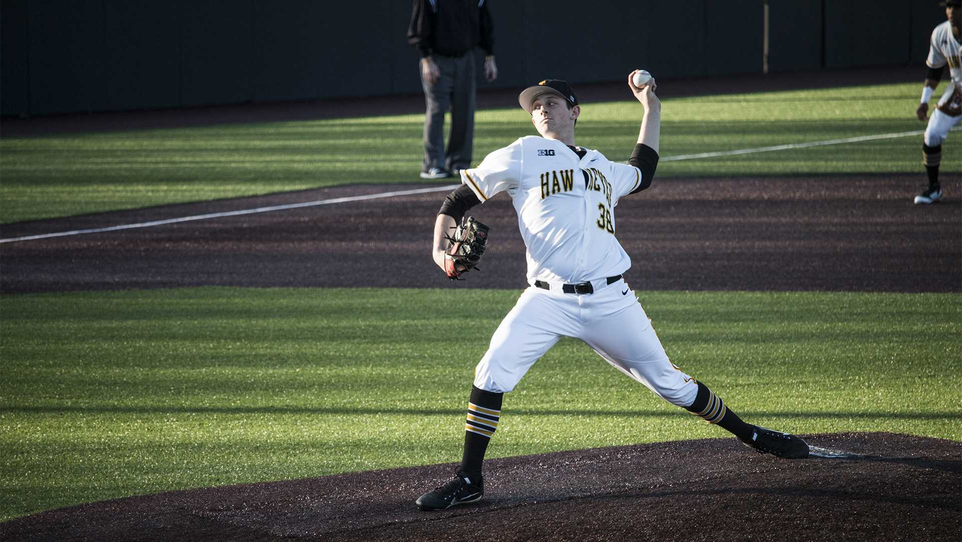 Iowa pitcher Trenton Wallace throws the ball during men's baseball Iowa vs. Cornell at Duane Banks Field on Feb. 27, 2018. The Hawkeyes defeated Cornell 15-1. (Katina Zentz/The Daily Iowan)