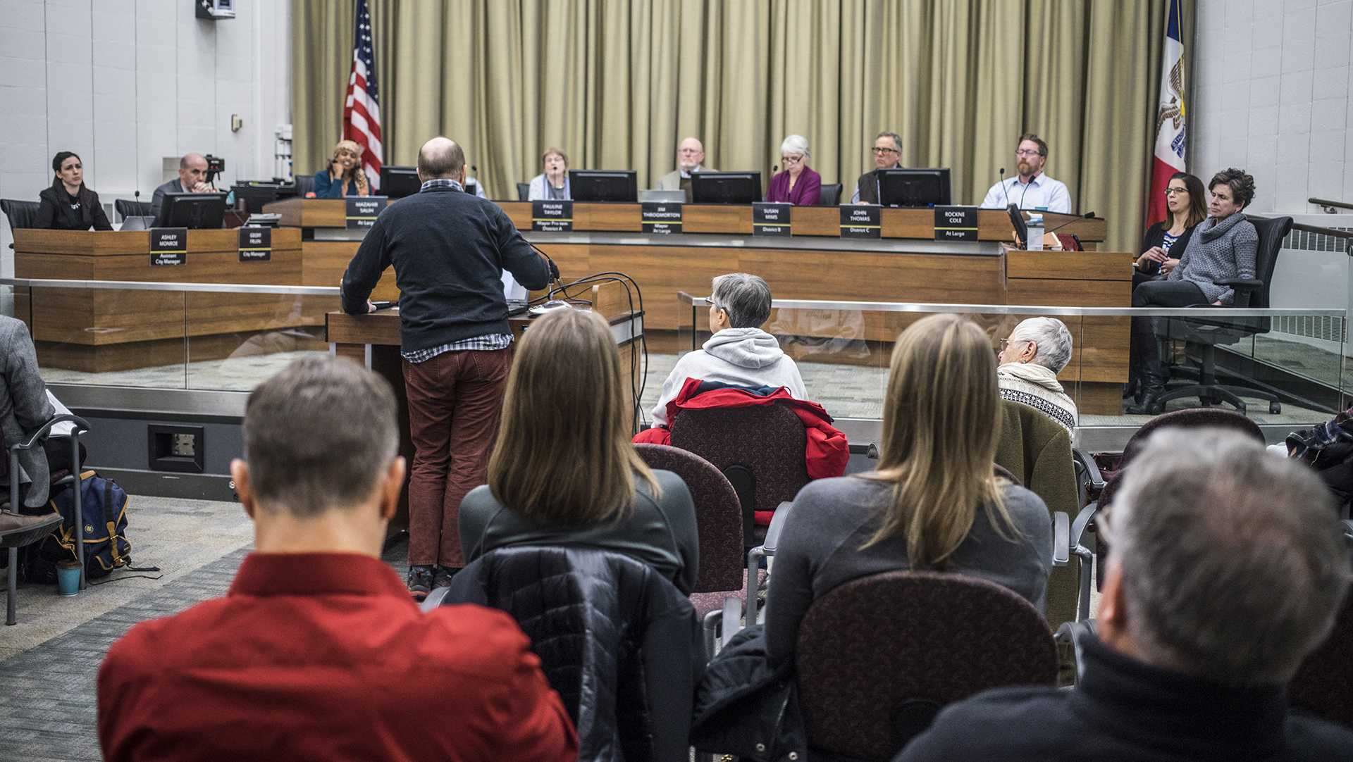The Iowa City Council meeting as seen on Tuesday, Feb. 6, 2018. (James Year/The Daily Iowan)