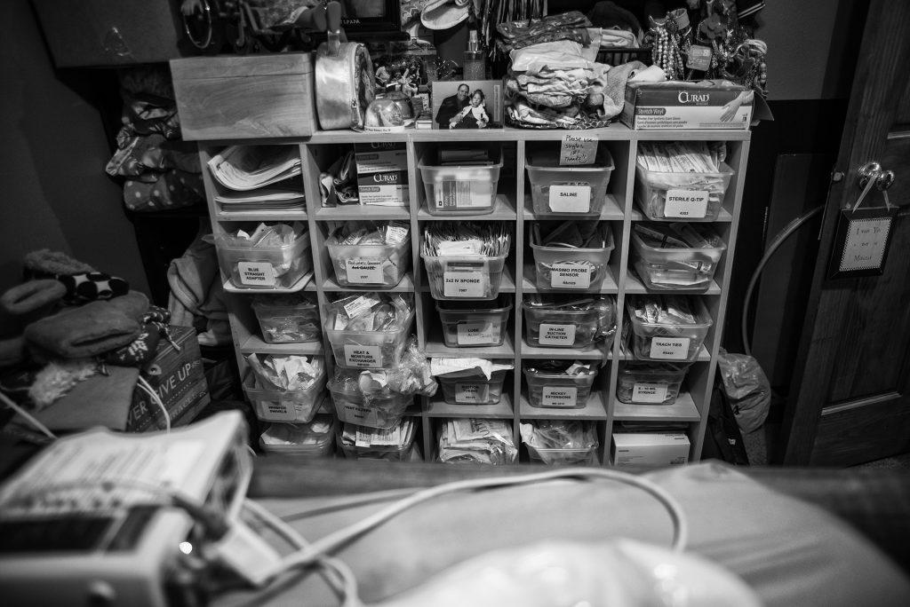 Medical equipment and supplies are pictured at the Turnbull family's Pella home. (Ben Allan Smith/The Daily Iowan)