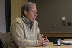 UI President Bruce Harreld speaks in an interview with The Daily Iowan in Adler Journalism Building on Wednesday, March 7, 2018.
