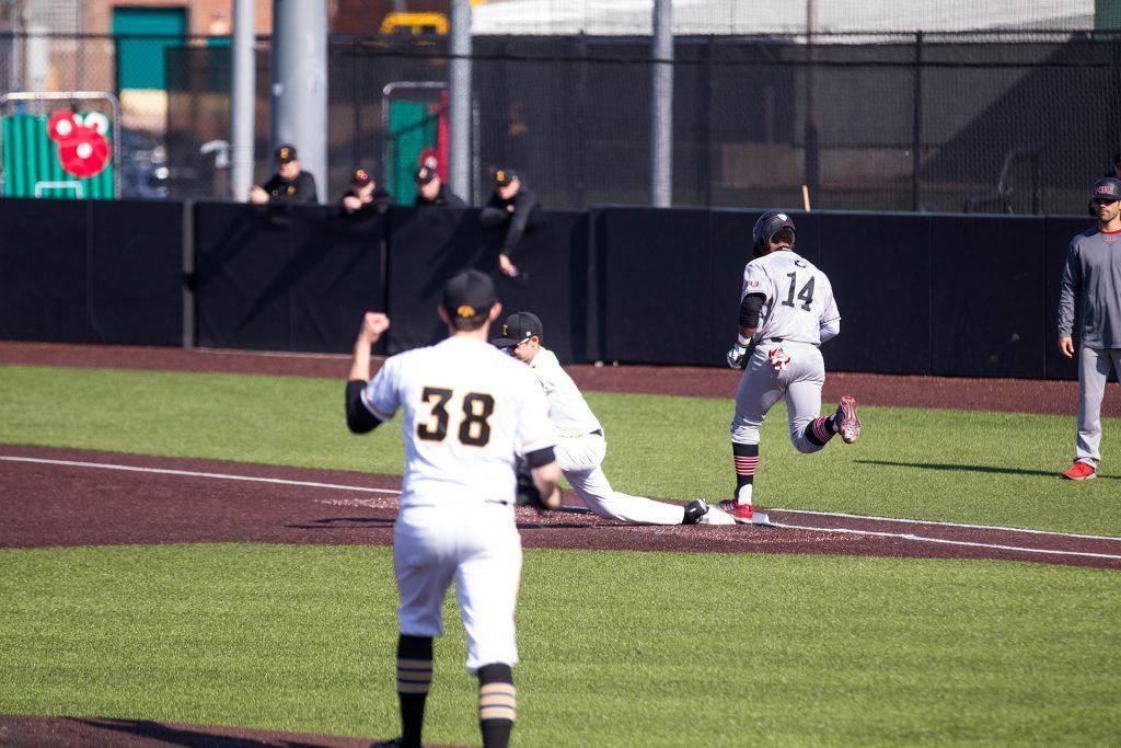 Trenton+Wallace+celebrates+during+Iowa+baseball+vs.+Northern+Illinois+at+Banks+Field+on+April+17%2C+2018.+The+Hawkeyes+won+the+game+2-0.+%28Megan+Nagorzanski%2FThe+Daily+Iowan%29