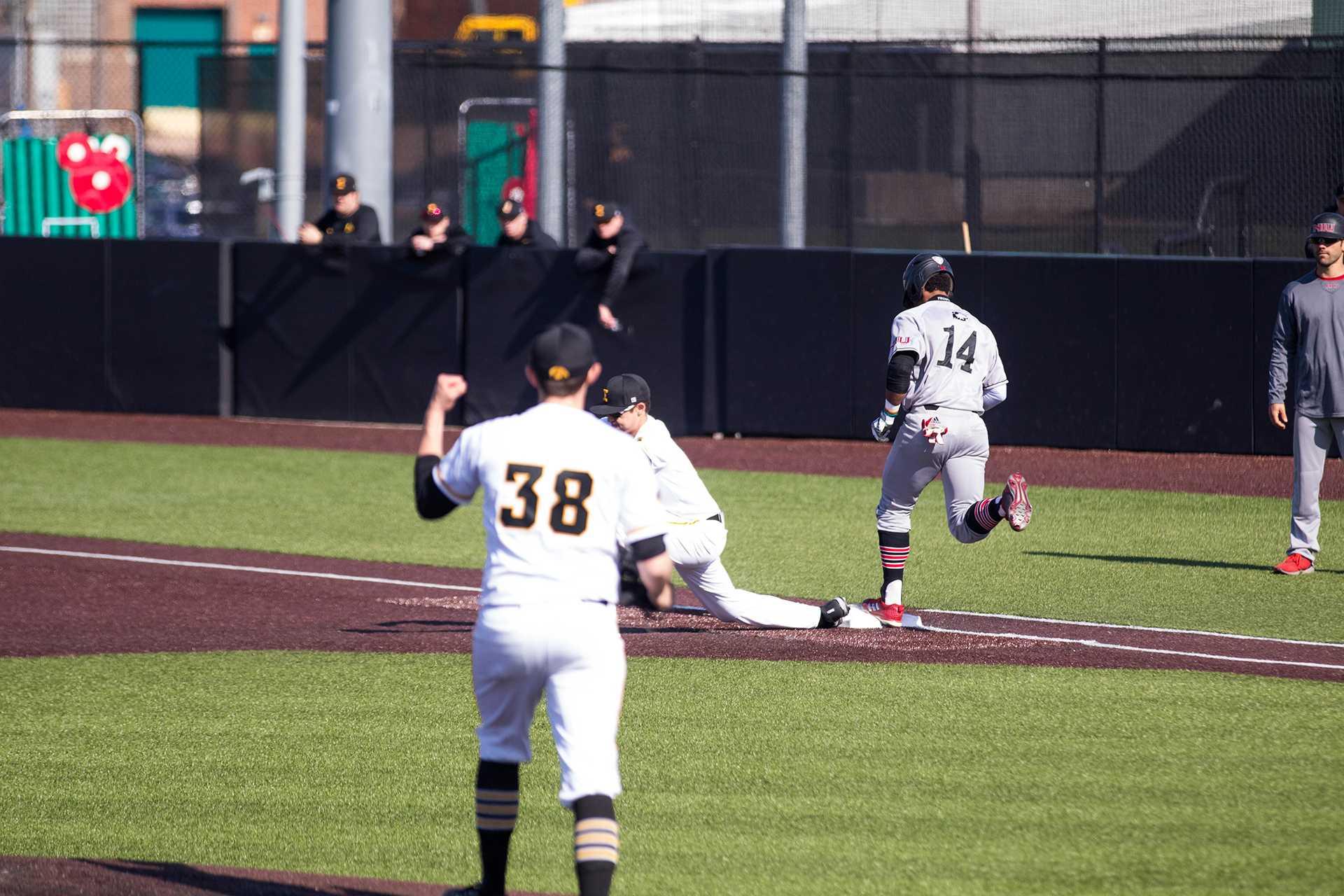 Trenton Wallace celebrates during Iowa baseball vs. Northern Illinois at Banks Field on April 17, 2018. The Hawkeyes won the game 2-0. (Megan Nagorzanski/The Daily Iowan)