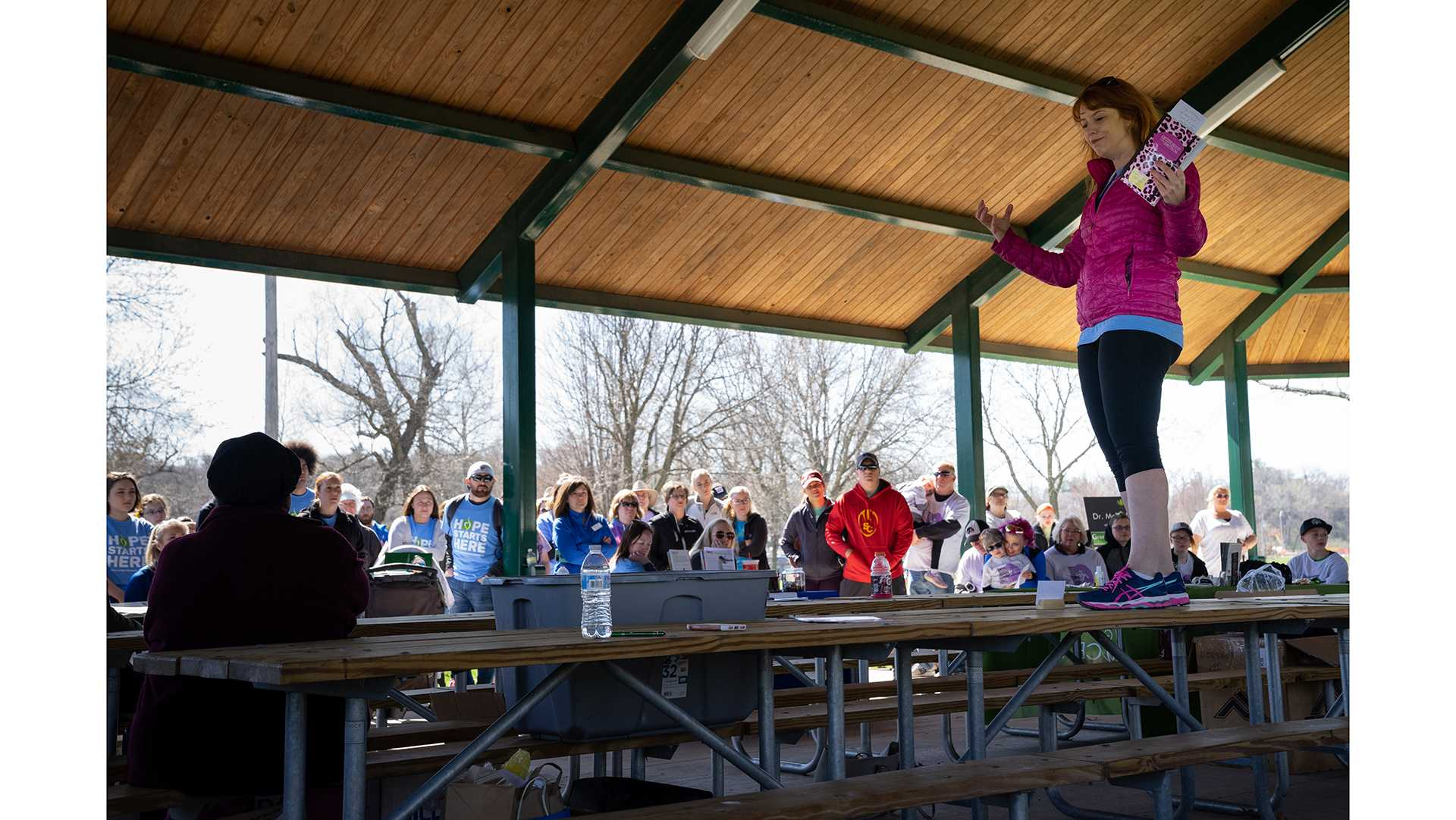 Jennifer O'Toole speaks during a National Eating Disorders Awareness event in City Park on Saturday, April 29, 2018. O'Toole overcame anorexia and is now a renowned author and public speaker. (Matthew Finley/The Daily Iowan)