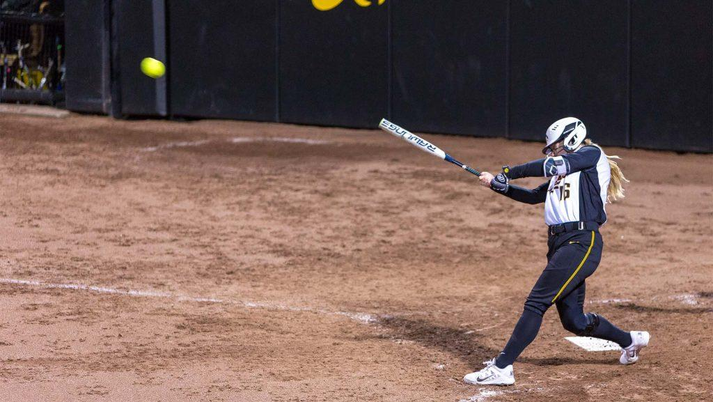 University+of+Iowa+softball+player+Brooke+Rozier+connects+for+a+two+out+double+in+the+bottom+of+the+seventh+inning+during+a+game+against+Western+Illinois+University+on+Tuesday%2C+Apr.+17%2C+2018.+The+Hawkeyes+would+score+in+the+inning+but+the+Fighting+Leathernecks+defeated+the+Hawkeyes+2-1.+%28David+Harmantas%2FThe+Daily+Iowan%29