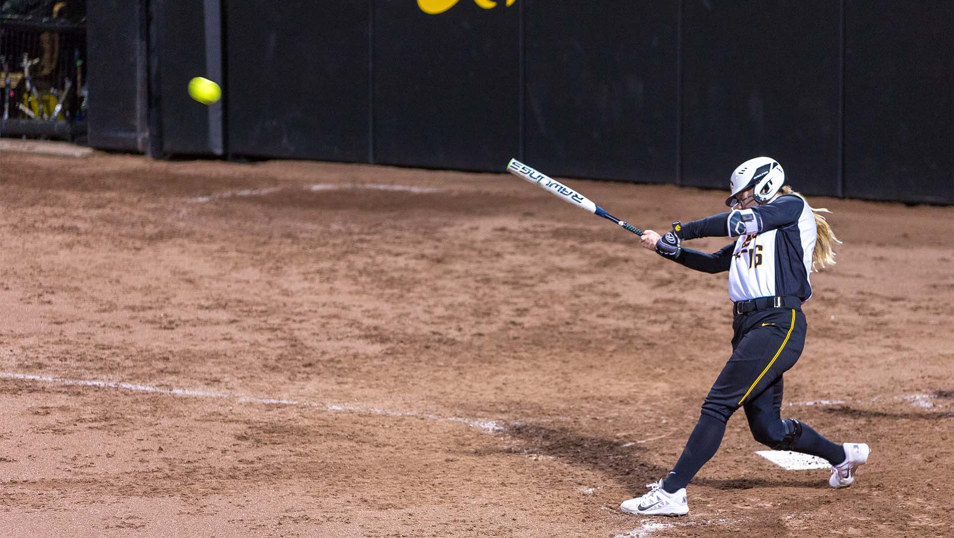 University of Iowa softball player Brooke Rozier connects for a two out double in the bottom of the seventh inning during a game against Western Illinois University on Tuesday, Apr. 17, 2018. The Hawkeyes would score in the inning but the Fighting Leathernecks defeated the Hawkeyes 2-1. (David Harmantas/The Daily Iowan)