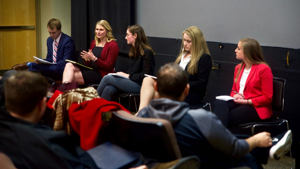 Student candidates speak at the Independent Senator Forum at the IMU on Monday, March 26. The UISG election period starts March 28. (The Daily Iowan/Olivia Sun)