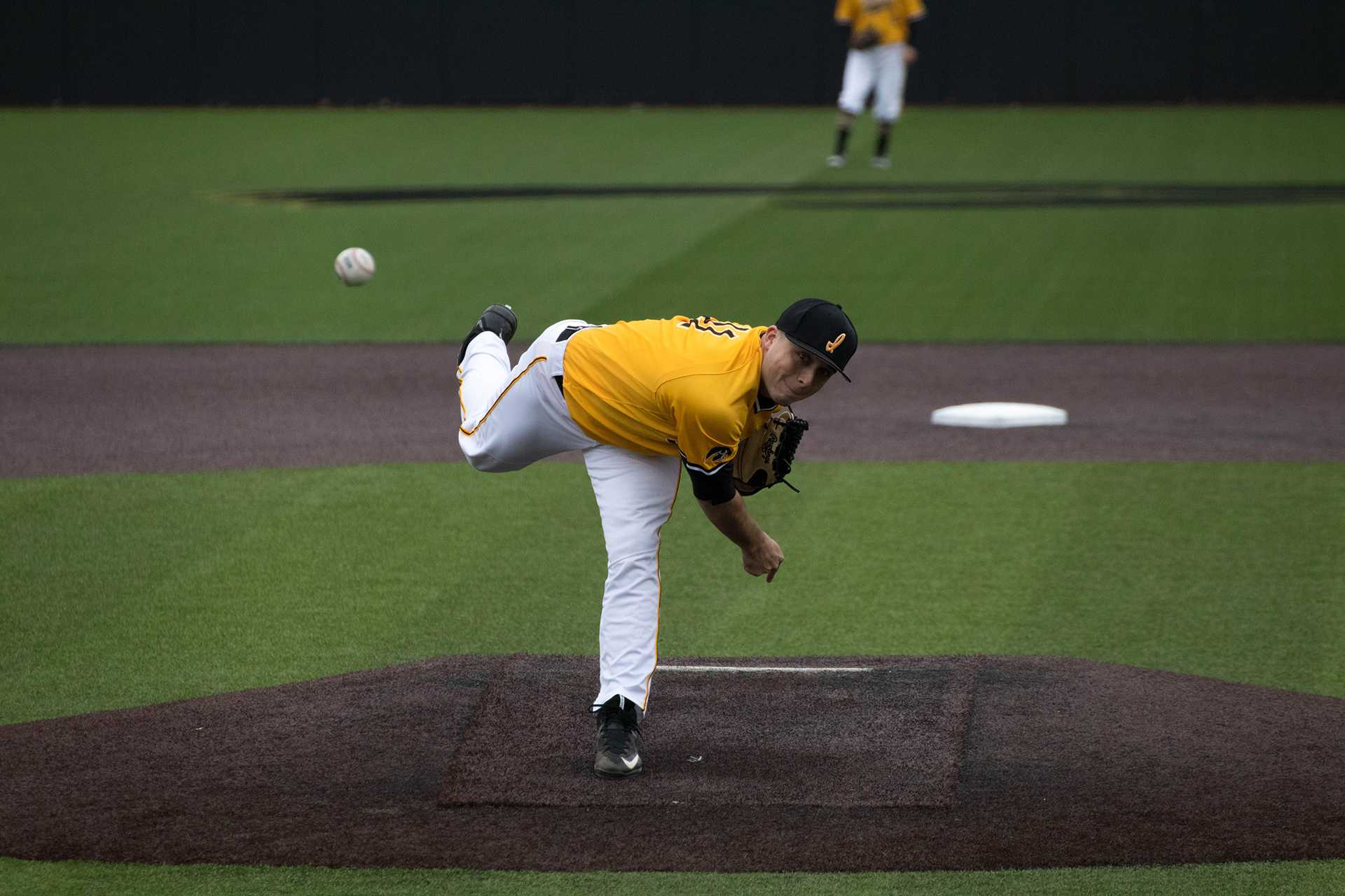 Cole McDonald pitches during Iowa men's baseball vs. Ohio State at Banks Field on April 8, 2018. The Hawkeyes won the game 2-1. (Megan Nagorzanski/The Daily Iowan)