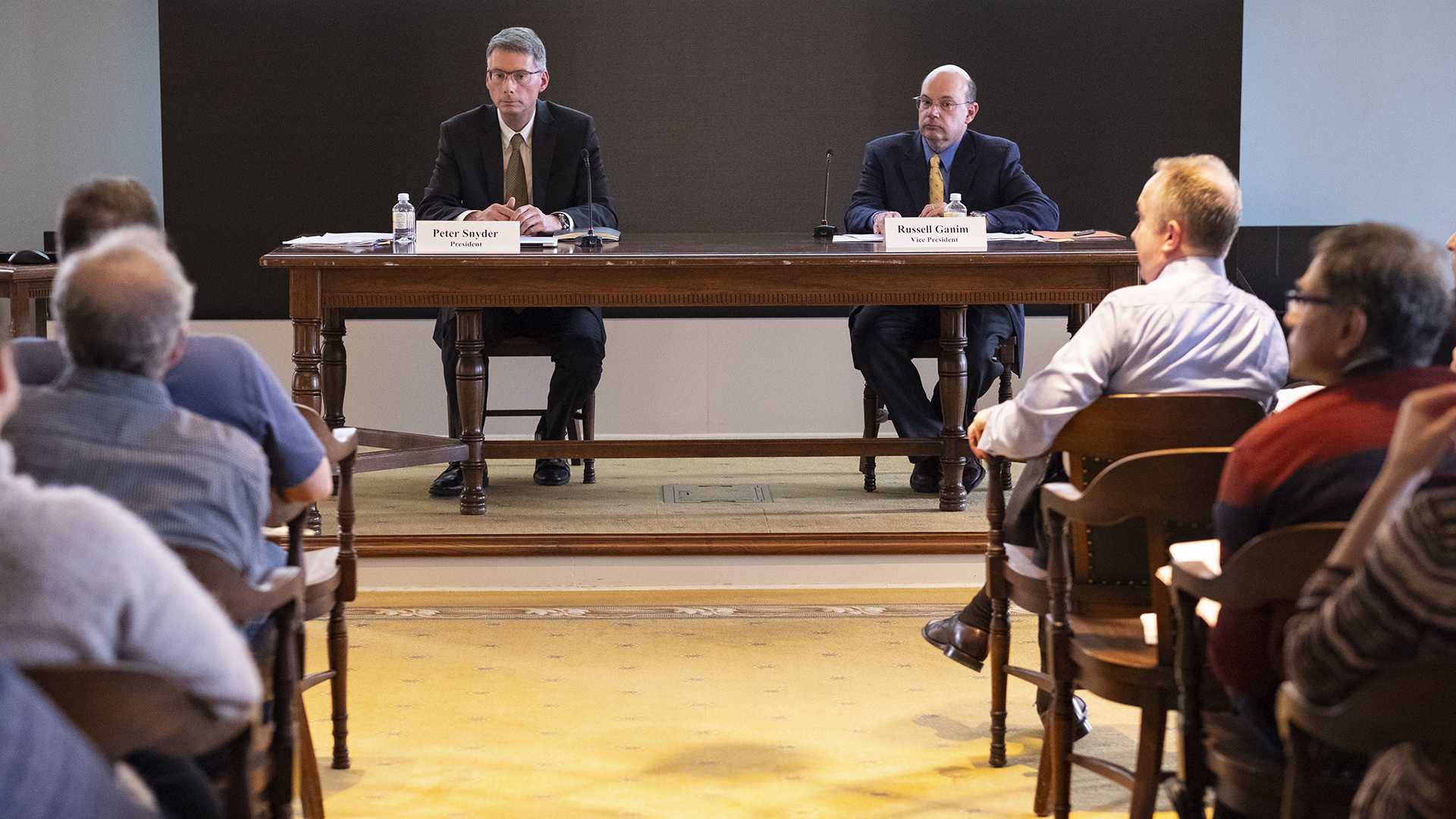 Outgoing Faculty Senate President Peter Snyder and current Vice President and incoming President Russel Ganim sit in the Old Capitol Senate Chamber on Tuesday, April 24, 2018. (Nick Rohlman/The Daily Iowan)