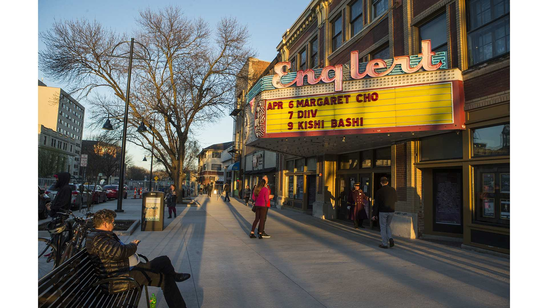 People enter The Englert Theatre for comedian, Margaret Cho's stand-up during Mission Creek Festival on Thursday, April 6, 2017. Cho is best known for her social and political commentary, particularly in support of the LGBT community. (The Daily Iowan/Ben Smith)