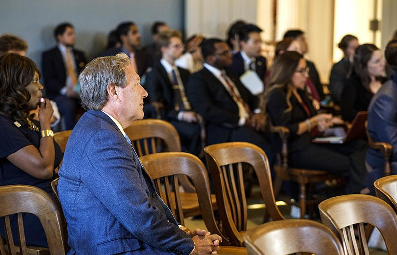 University President Bruce Harreld listens during a joint session of the UISG and GPSG on Sept. 19, 2017. Harreld spoke about the need for cooperation between student leaders and administrators, and challenges faced by the university following budget cuts by state legislature.