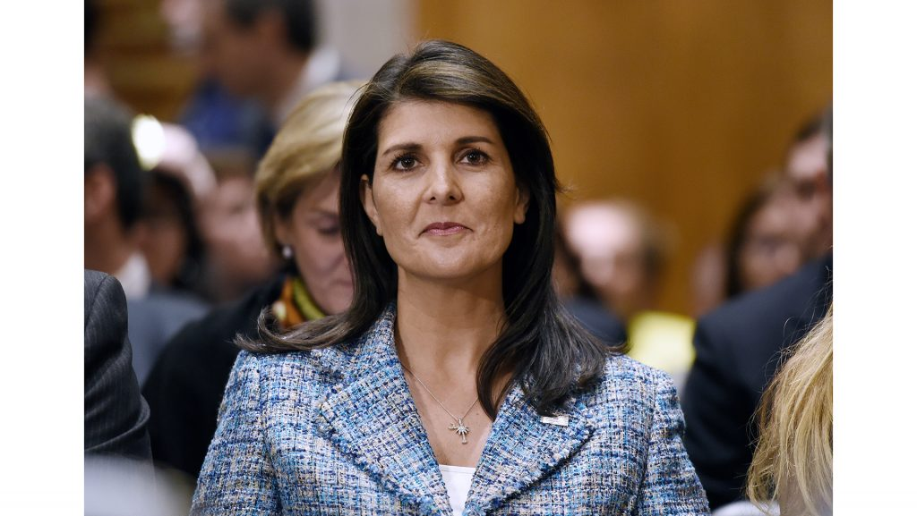 U.N.+ambassador+Nikki+Haley+attends+Mike+Pompeo%26apos%3Bs+confirmation+hearing+before+the+Senate+Foreign+Relations+Committee+on+April+12%2C+2018+in+Washington%2C+D.C.+%28Olivier+Douliery%2FAbaca+Press%2FTNS%29