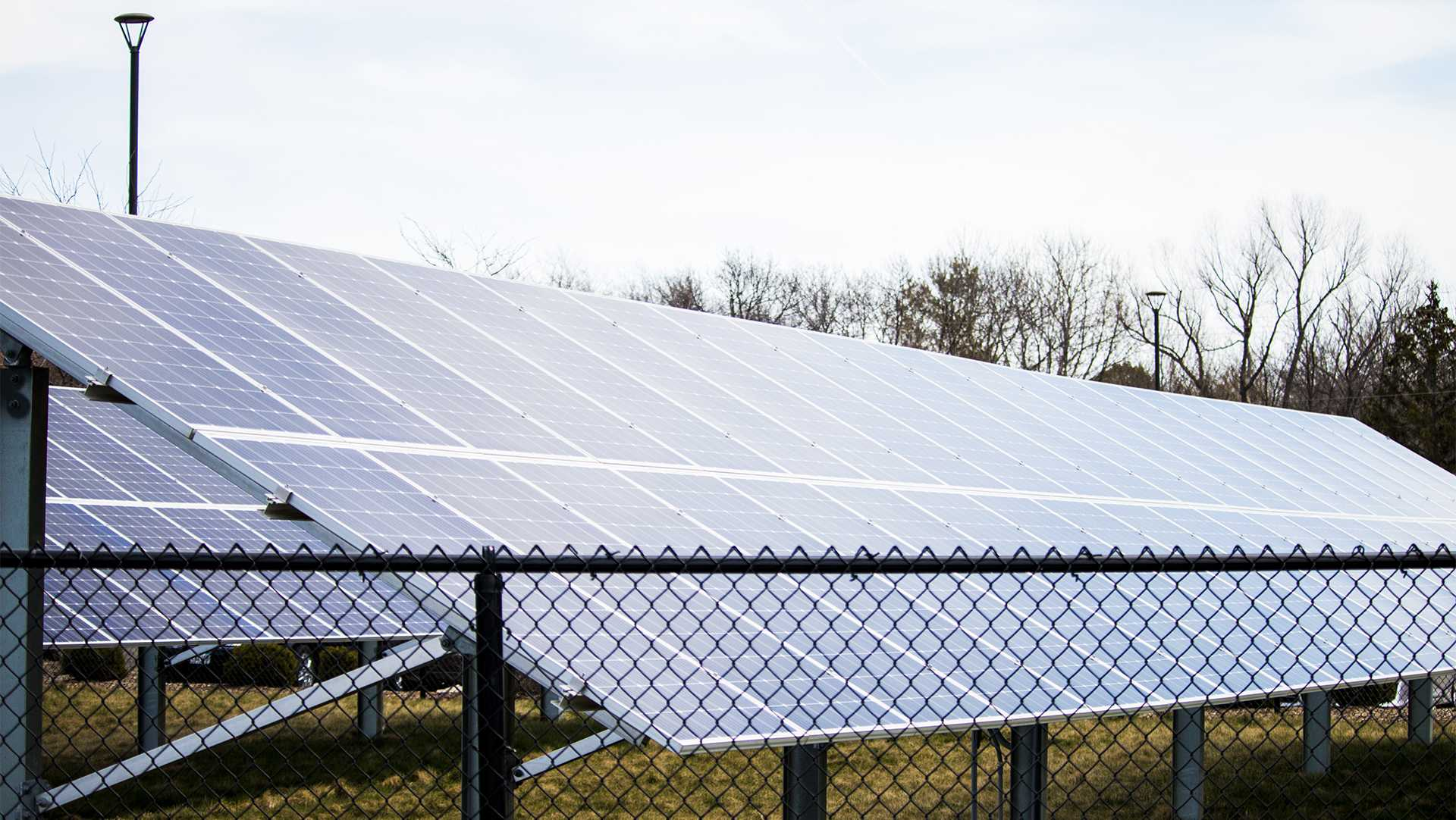 Solar panels are seen outside of the Johnson County Administration Building on April 23, 2018. (Katina Zentz/The Daily Iowan)