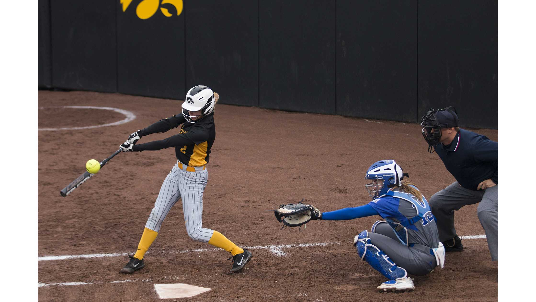 Iowa infielder Aralee Bogar swings at the ball during women's softball Iowa vs. Drake at Bob Pearl Field on March 28, 2018. The Bulldogs defeated the Hawkeyes 3-1. (Katina Zentz/The Daily Iowan)