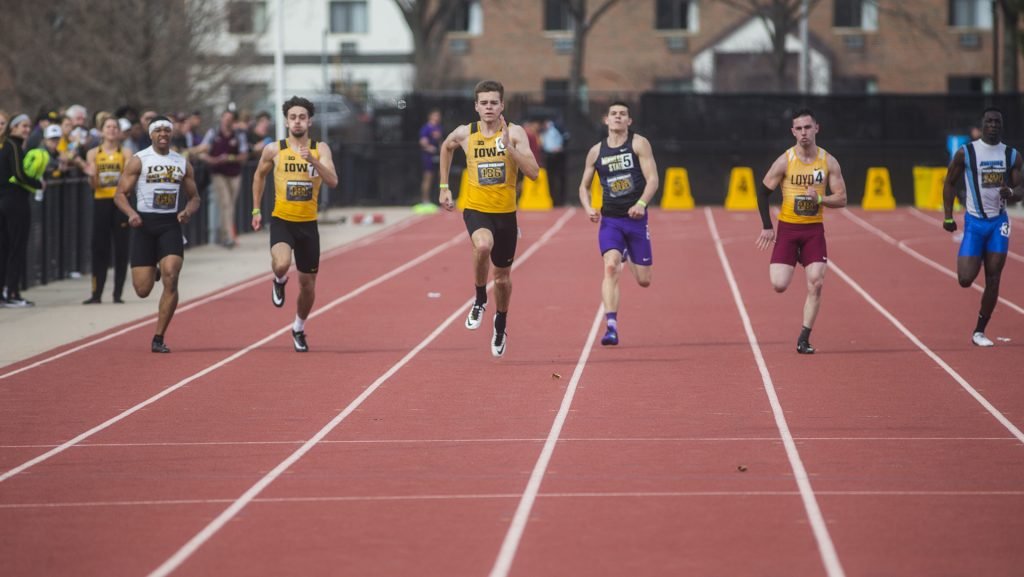 Iowa+track+and+field+athletes+head+toward+the+finish+line+during+Musco+Twilight+on+Thursday%2C+April+12%2C+2018.