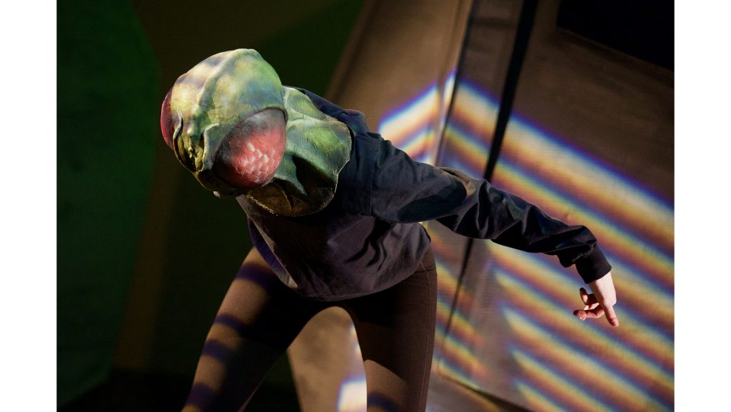 Sydney Kuhel performs as a fly in a rehearsal of Visual Mixtape on Tuesday, April 3, 2018, in the UI Theatre Building. Visual Mixtape, directed by Joe Osheroff, is a nonverbal, ensemble-based mask show. (The Daily Iowan/Olivia Sun)