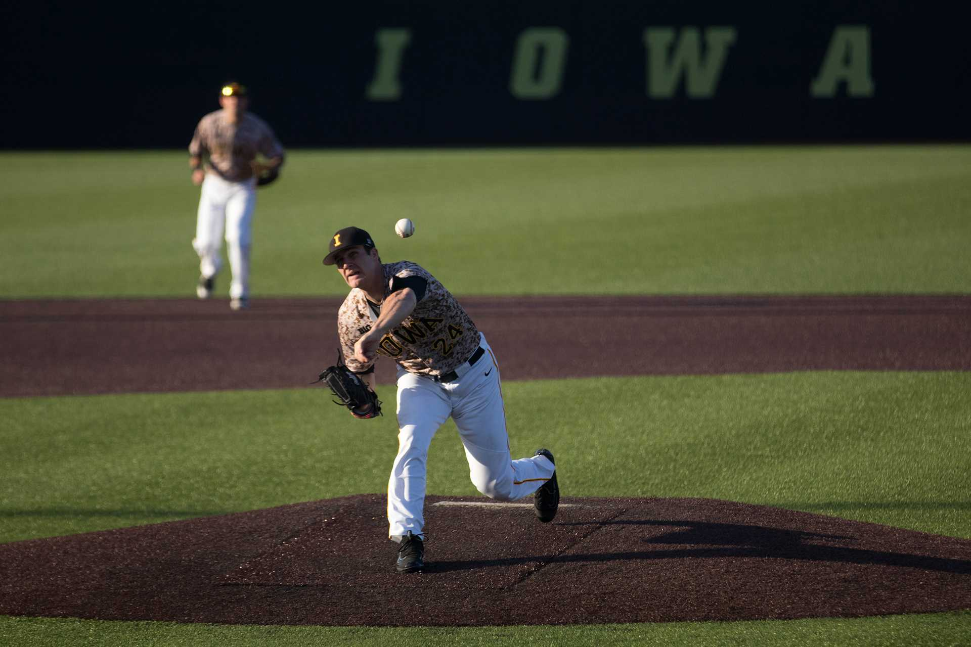 Nick Allgeyer pitches during Iowa's game against Oklahoma State at Banks field on May 4, 2018. The Hawkeyes were defeated 7-6. (Megan Nagorzanski/The Daily Iowan)