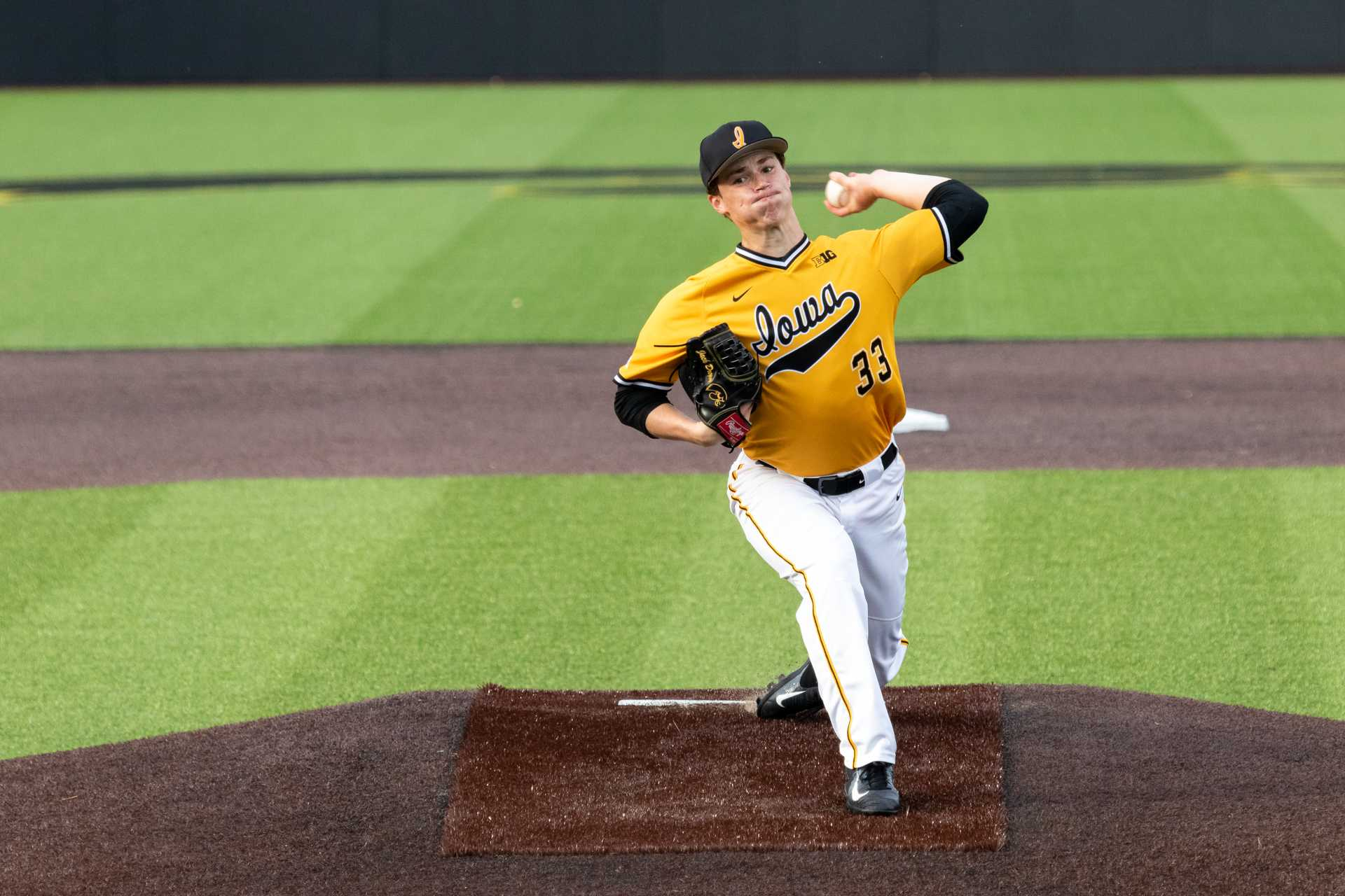 University of Iowa baseball player Jack Dreyer winds up to pitch during a game against Penn State University on Saturday, May 19, 2018. The Hawkeyes defeated the Nittany Lions 8-4. (David Harmantas/The Daily Iowan)