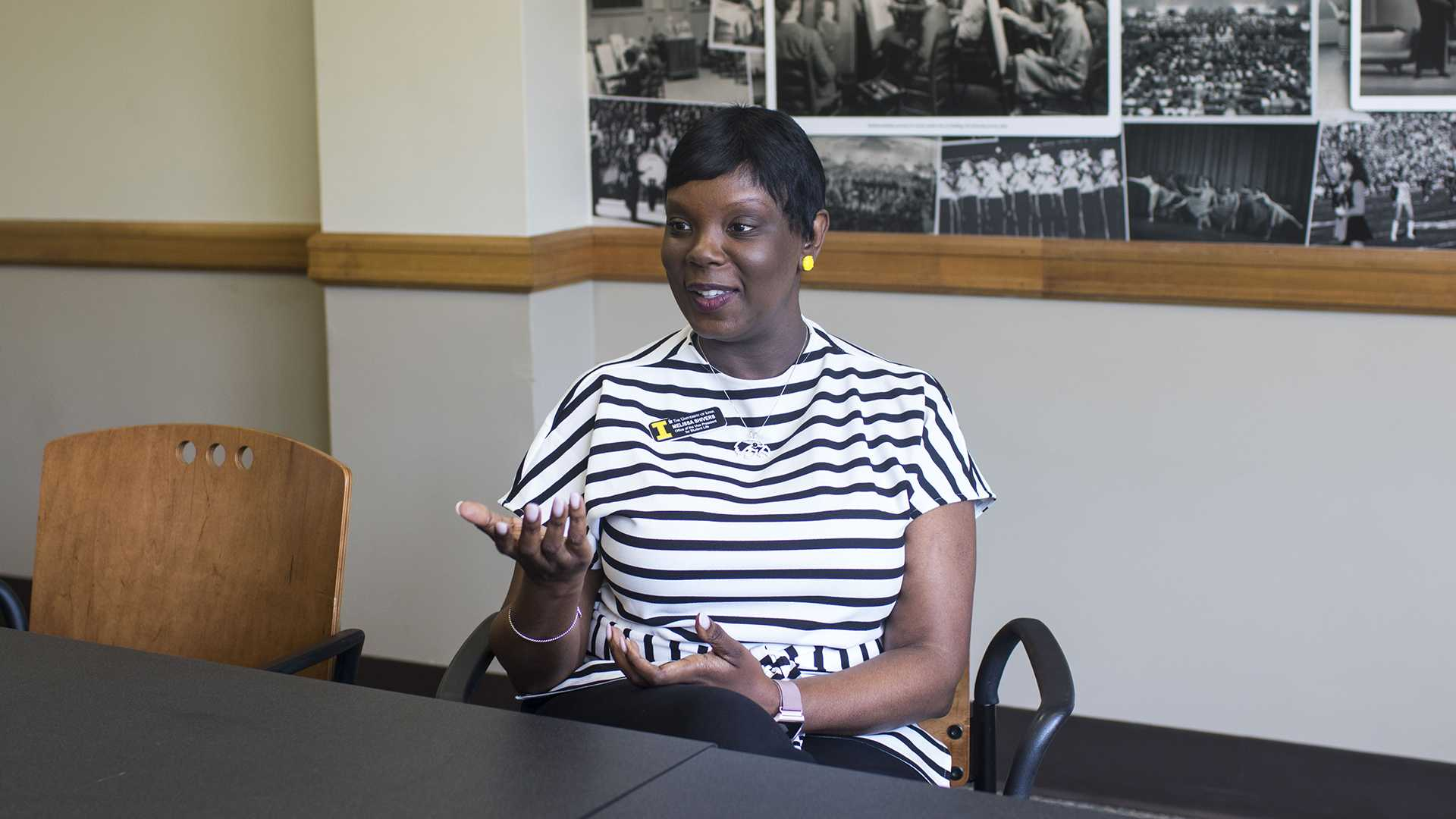 VP for Student Life Melissa Shivers speaks in an interview with The Daily Iowan in the IMU on Friday, May 4, 2018. (Lily Smith/The Daily Iowan)