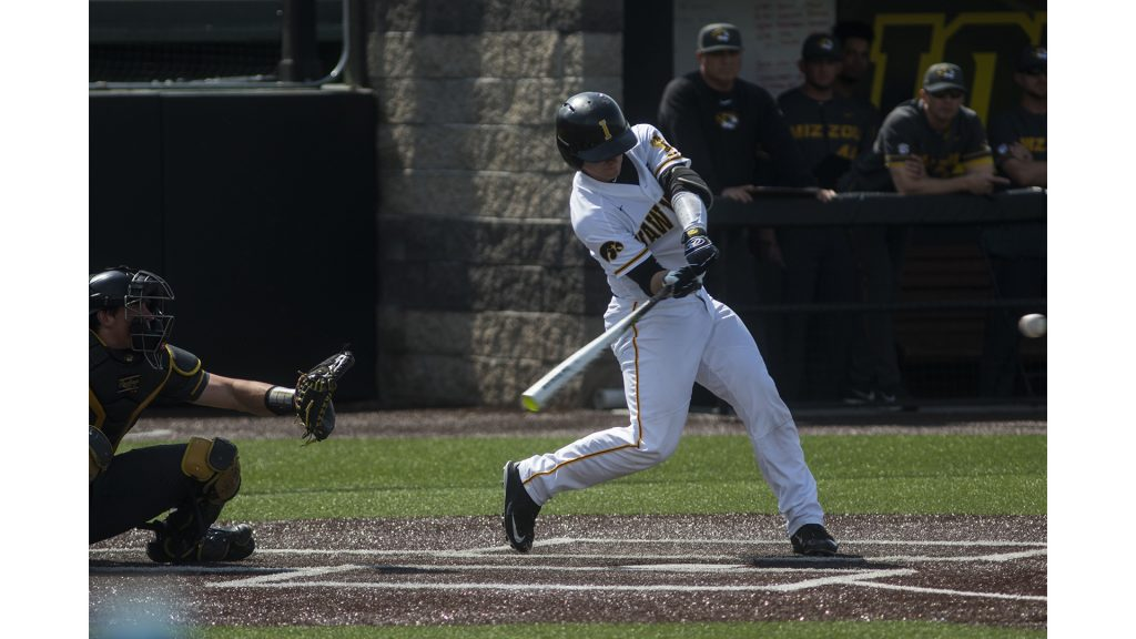 Iowa+catcher+Tyler+Cropley+swings+at+a+ball+during+the+Iowa%2FMizzou+baseball+game+at+Duane+Banks+Field+on+Tuesday%2C+May+1%2C+2018.+The+Tigers+defeated+the+Hawkeyes%2C+17-16%2C+with+two+extra+innings.+%28Lily+Smith%2FThe+Daily+Iowan%29