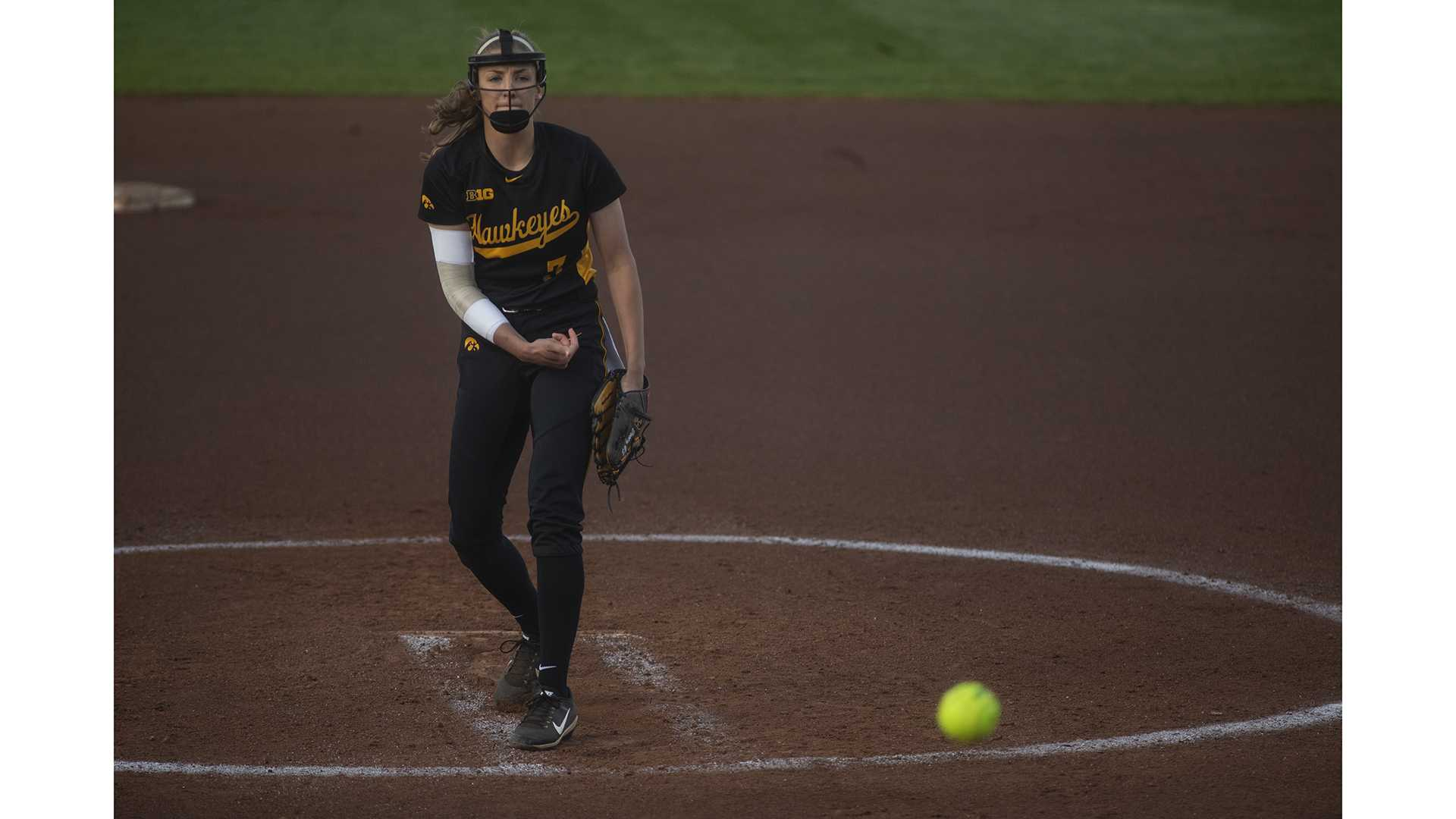 Iowa starting pitcher Alison Doocy delivers a pitch during Iowa's Big Ten tournament game against Ohio State at the Goodman Softball complex in Madison, WI. The Hawkeyes defeated the Buckeyes 5-1. (Nick Rohlman/The Daily Iowan)