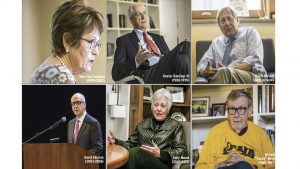 The six living University of Iowa presidents are shown in the present day. Images by The Daily Iowan staff. Hunter Rawlings (top middle) by Robert Barker/Cornell University Photography.