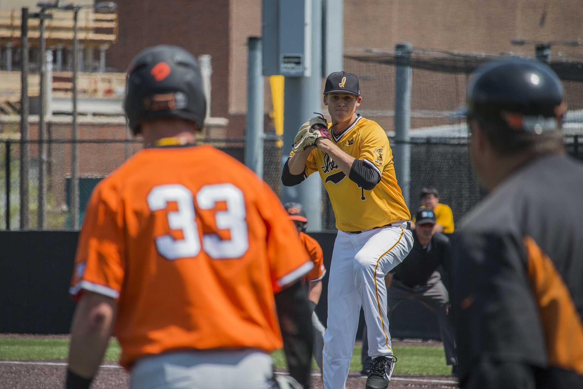 Iowa pitcher Grant Judkins prepares to throw the ball during baseball Iowa vs. Oklahoma State at Duane Banks Field on May 6, 2018. The Hawkeyes defeated the Cowboys 11-3.  (Katina Zentz/The Daily Iowan)