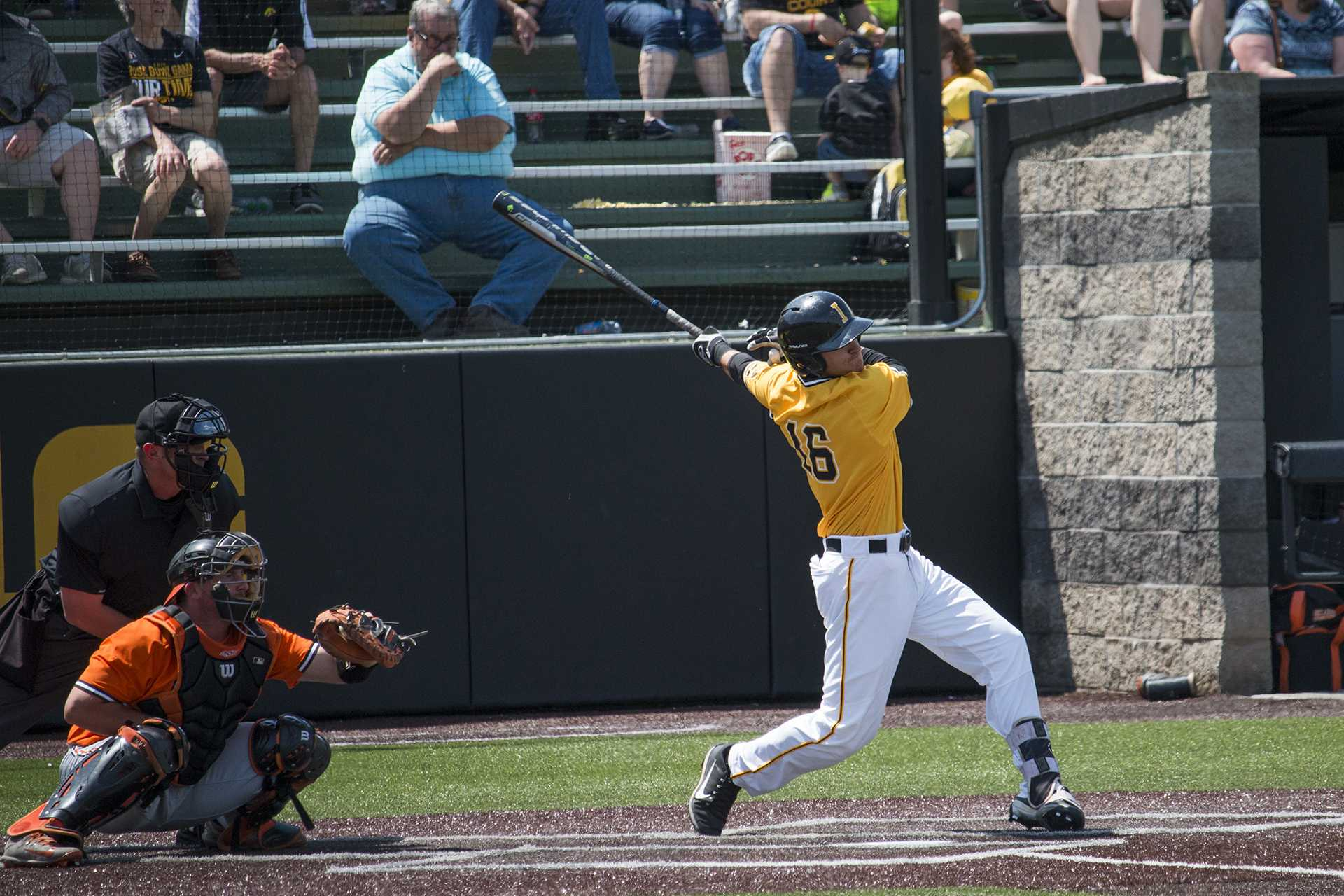Iowa infielder Tanner Wetrich swings at the pitch during baseball Iowa vs. Oklahoma State at Duane Banks Field on May 6, 2018. The Hawkeyes defeated the Cowboys 11-3.  (Katina Zentz/The Daily Iowan)