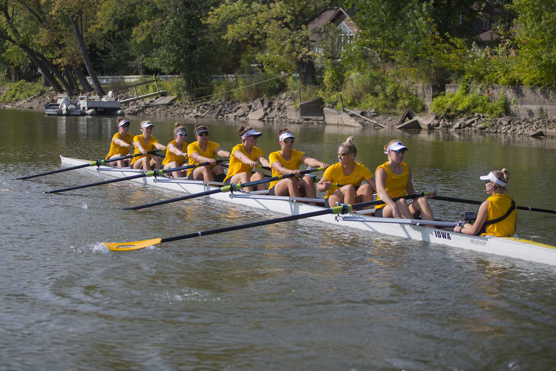 Iowa's rowing team practices on the Iowa River on Friday, Sept. 15, 2017. The rowing team recently finalized their schedule, with two home competitions on Oct. 6 and 7. (Lily Smith/The Daily Iowan)