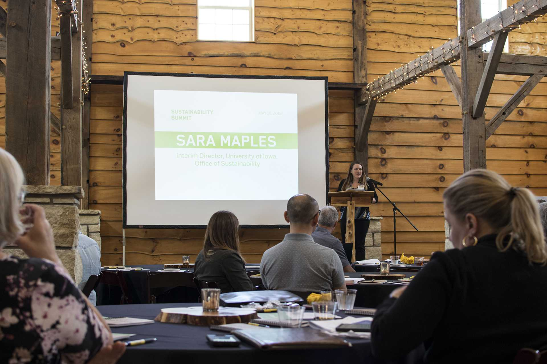 Interim Director Sara Maples speaks at the faculty sustainability summit on May 10. (Thomas A. Stewart/The Daily Iowan)