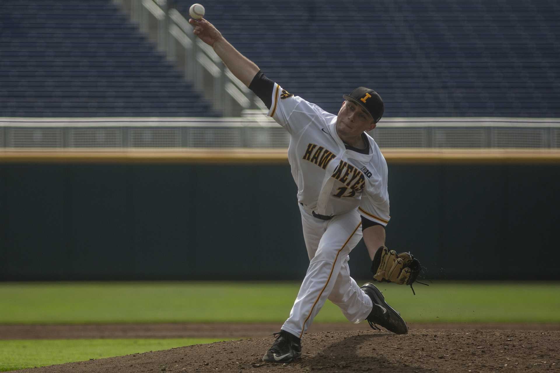 Iowa's Cole McDonald delivers a pitch during Iowa's Big Ten tournament game against Ohio State on Thursday, May 24, 2018. The Buckeyes defeated the Hawkeyes 2-0. (Nick Rohlman/The Daily Iowan)