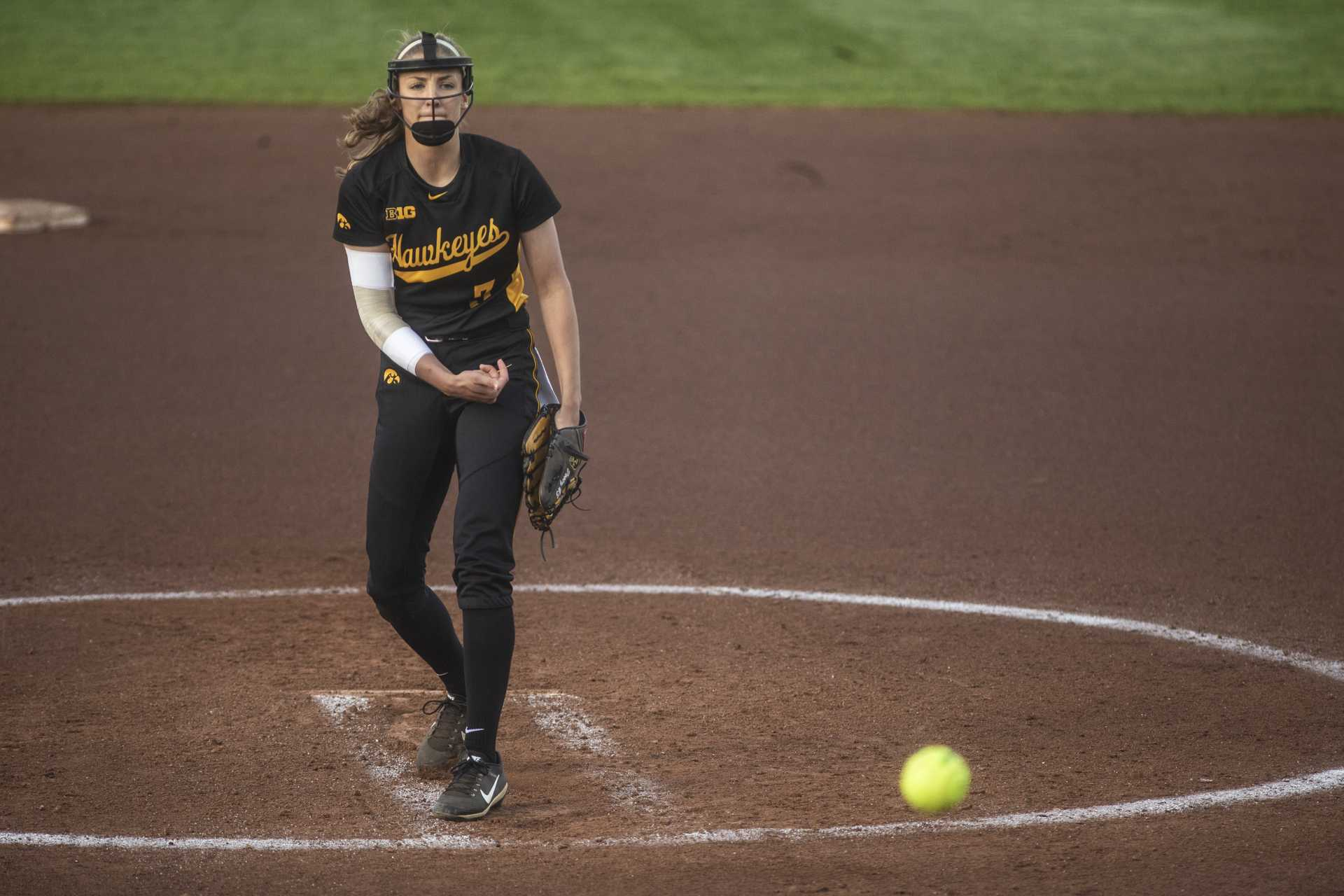 Iowa's Allison Doocy delivers a pitch during Iowa's Big Ten tournament game against Ohio State at the Goodman Softball complex in Madison, WI. The Hawkeyes defeated the Buckeyes, 5-1. (Nick Rohlman/The Daily Iowan)