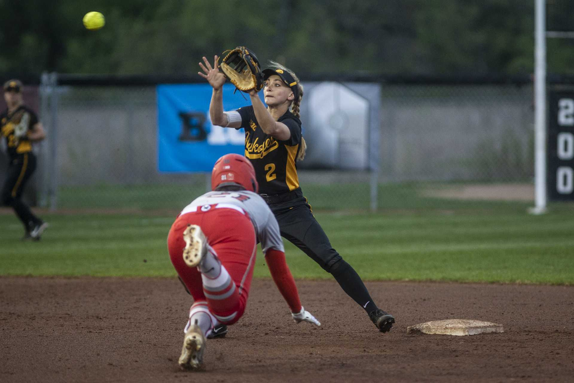 Iowa's Aralee Bogar prepares to receive a throw at second during IowaÕs Big Ten tournament game against Ohio State at the Goodman Softball complex in Madison, WI. The Hawkeyes defeated the Buckeyes 5-1. (Nick Rohlman/The Daily Iowan)