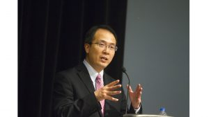 Consul General Hong Lei was giving his lecture about new developments in China and Sino-U.S. Relations in IMU Ballrooms on Wednesday, May 2nd, 2018. (Gaoyuan Pan/ The Daily Iowan)