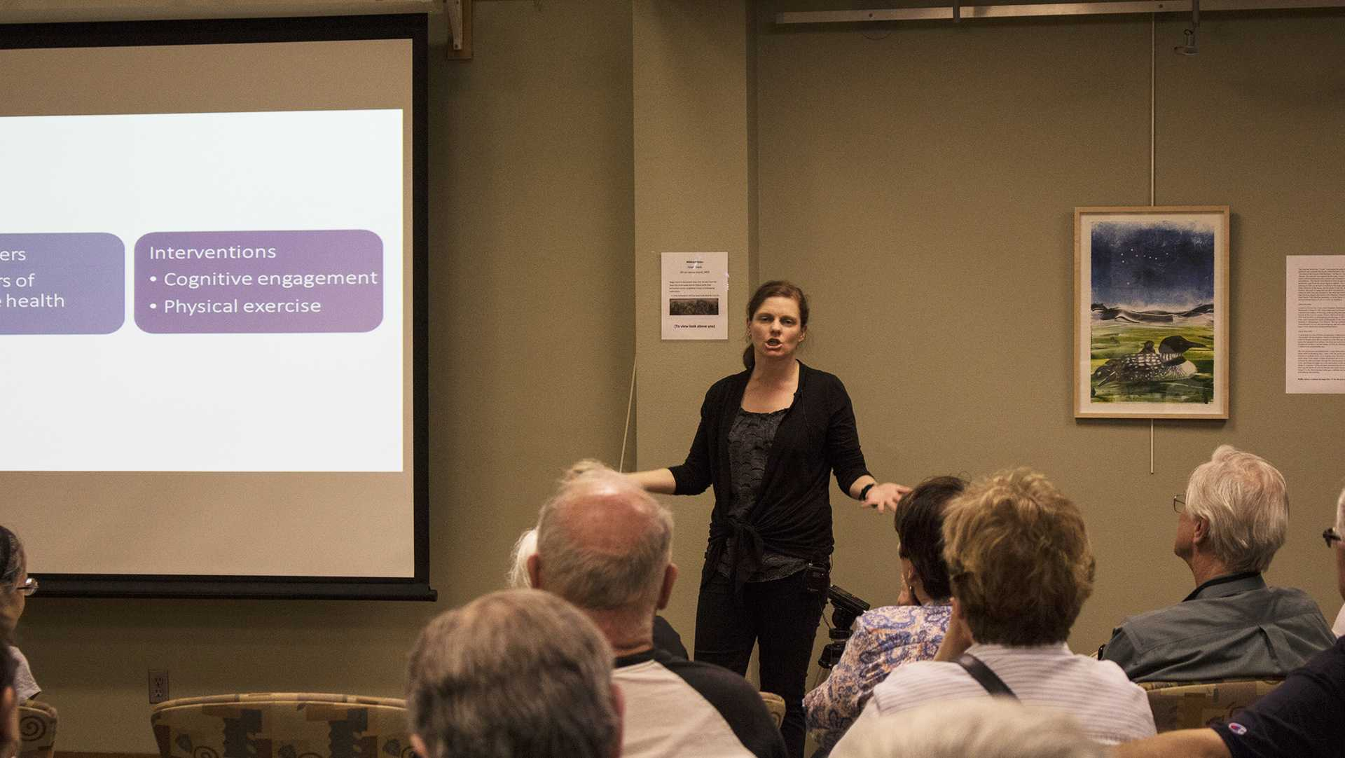 Michelle Voss, a professor at department of psychological and brain sciences, gave a lecture about health brain. The Iowa City Senior Center for the Engage Your Brain Fair provides a clear vision of what it takes to become brain healthy on Wednesday, May 2 2018.(Yue Zhang/The Daily Iowan)