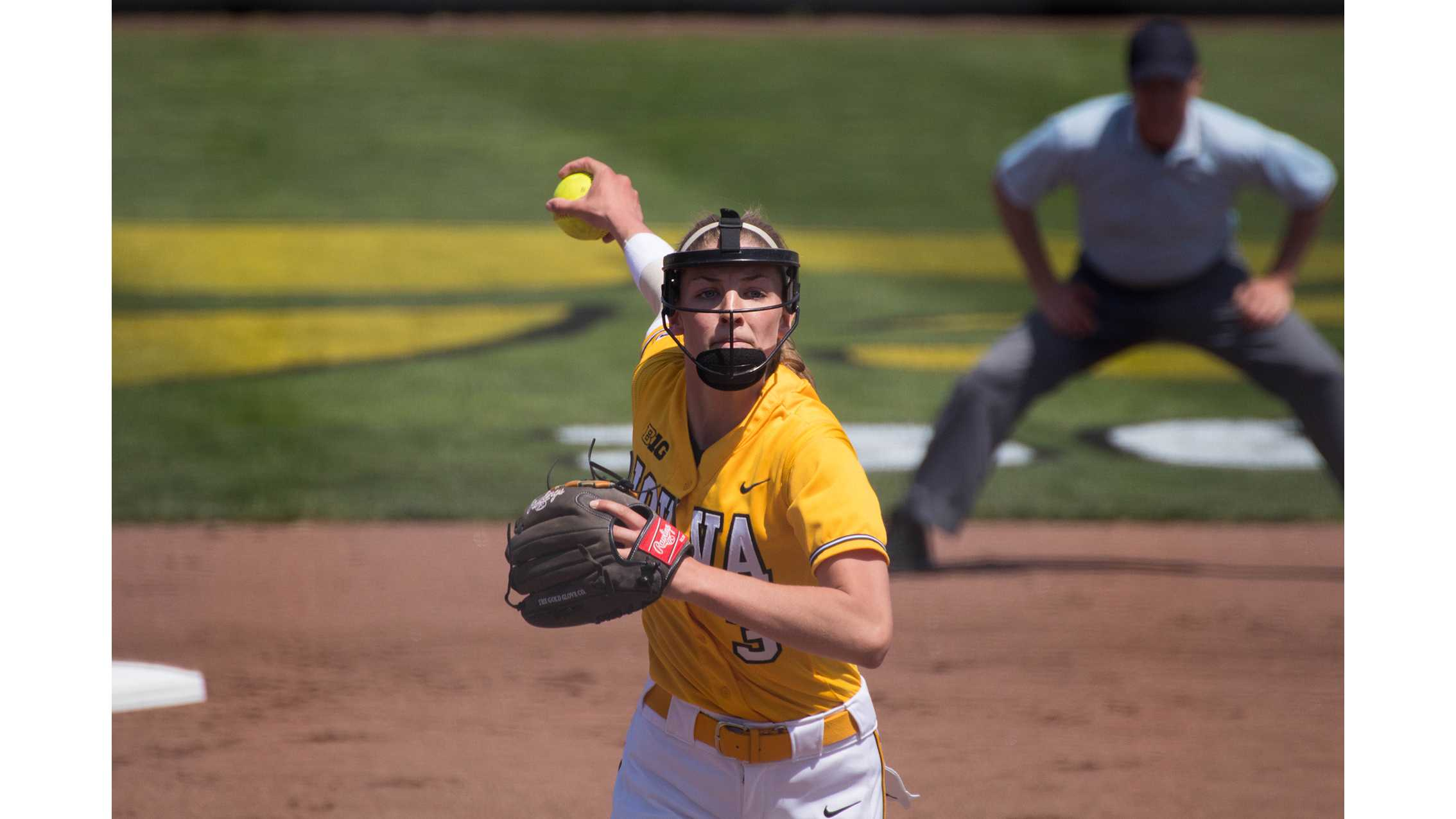 Allison Doocy pitches during Iowa's game against Purdue at Pearl Field on May 5, 2018. The Hawkeyes were defeated 9-0. (Megan Nagorzanski/The Daily Iowan)