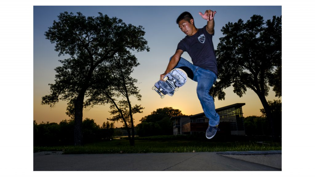 Push+Skateboards+founder+Ben+Peterson+skates+at+the+Iowa+City+Skate+Park+on+Friday%2C+June+15%2C+2018.+Peterson+often+works+more+than+70+hours+in+a+week+between+his+full+time+job+and+responsibilities+with+Push%2C+but+still+finds+time+to+skateboard+himself.+%28Nick+Rohlman%2FThe+Daily+Iowan%29