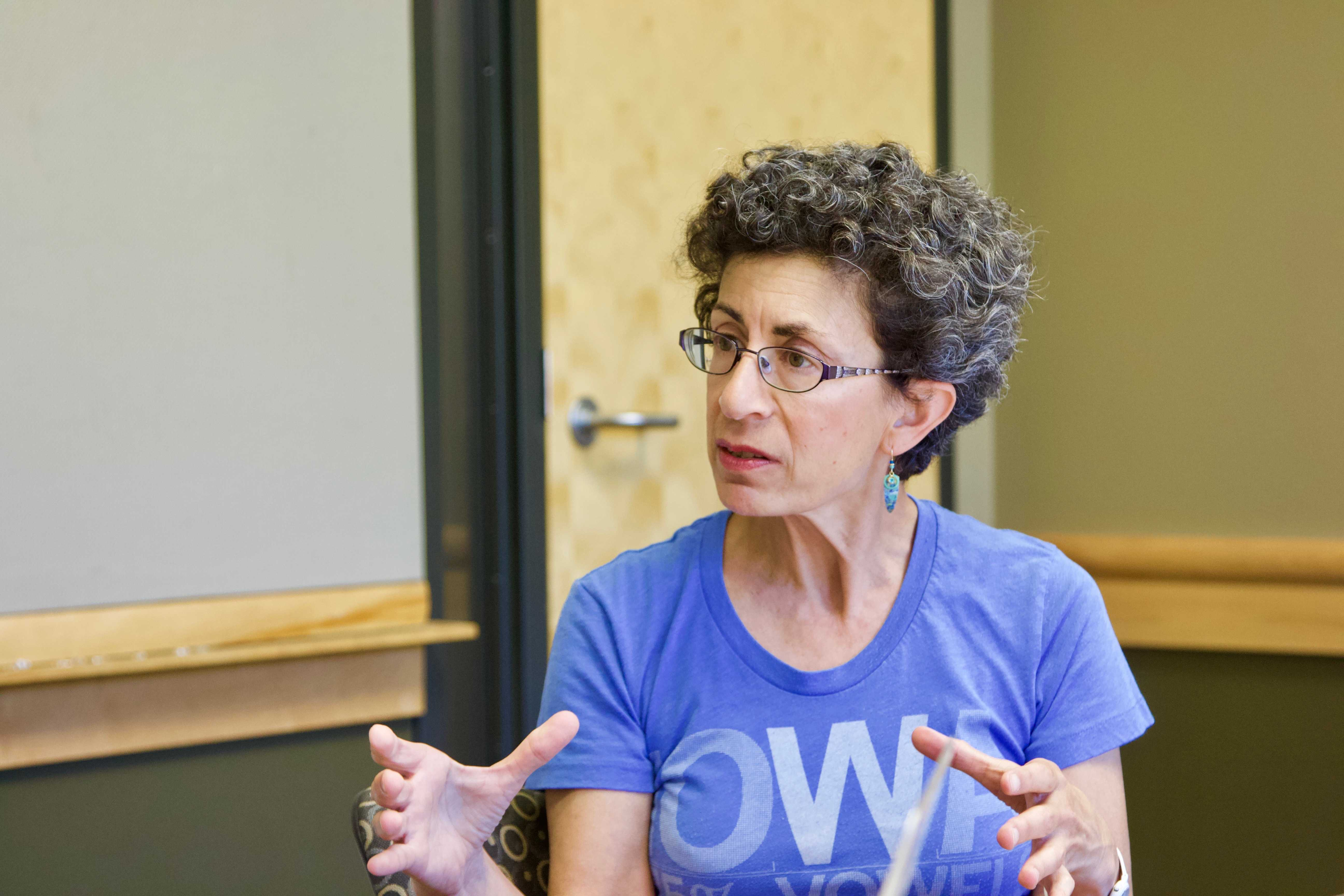 Democratic candidate for Iowa's 37th District Janice Weiner speaks with The Daily Iowan in the Adler Journalism Building on Sunday, June 3. Weiner served as a U.S. diplomat for over 25 years, and was born and raised in Coralville.