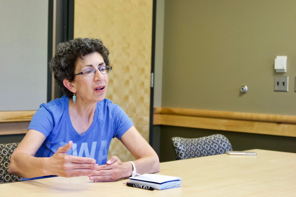 Democratic candidate for Iowa's 37th District Janice Weiner speaks with The Daily Iowan in the Adler Journalism Building on Sunday, June 3. Weiner served as a U.S. diplomat for over 25 years, and was born and raised in Coralville. (Gage Miskimen/The Daily Iowan)
