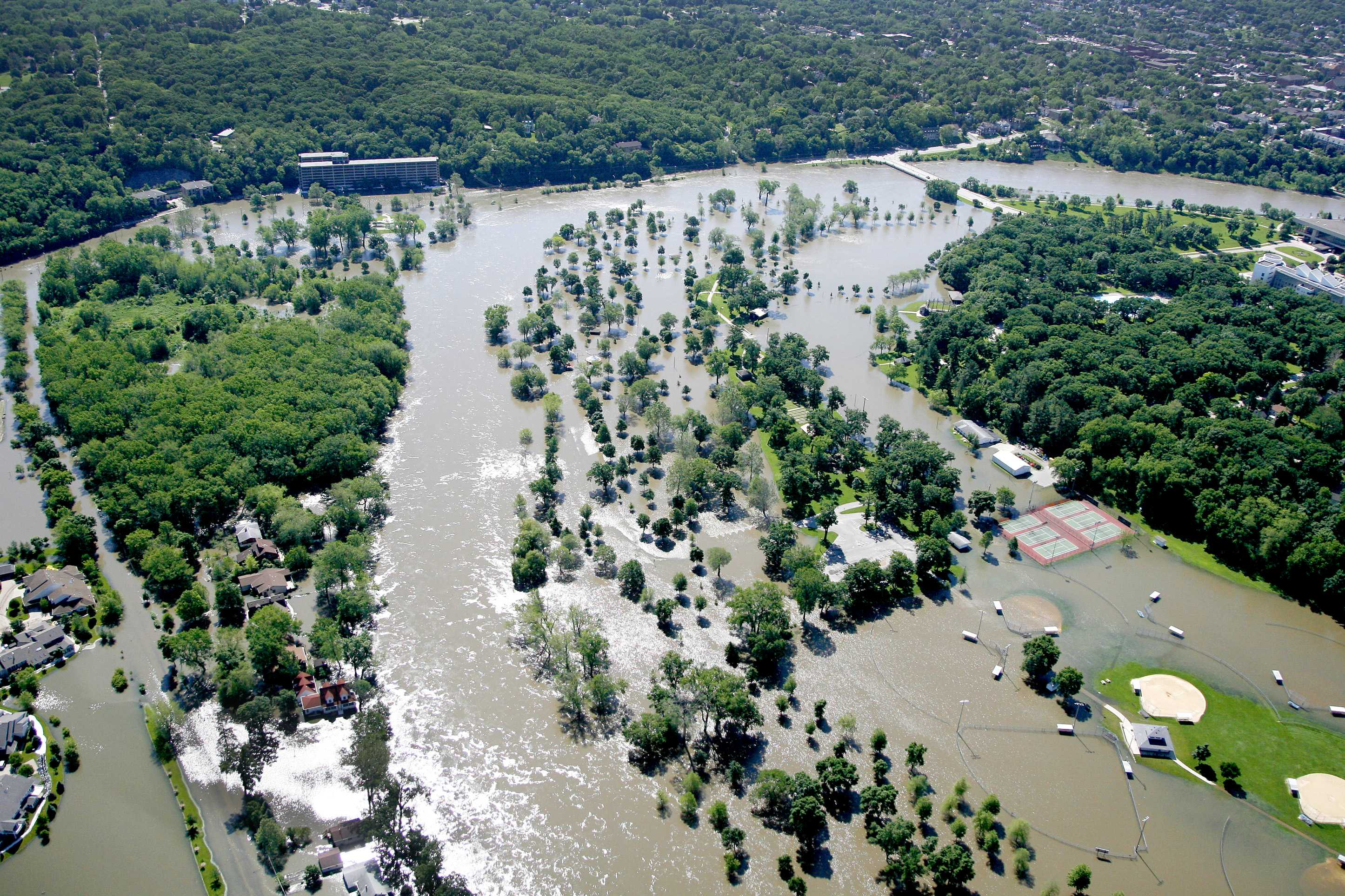 Floodwaters engulf Lower City Park on Tuesday, June 10, 2008. (File photo/The Daily Iowan)