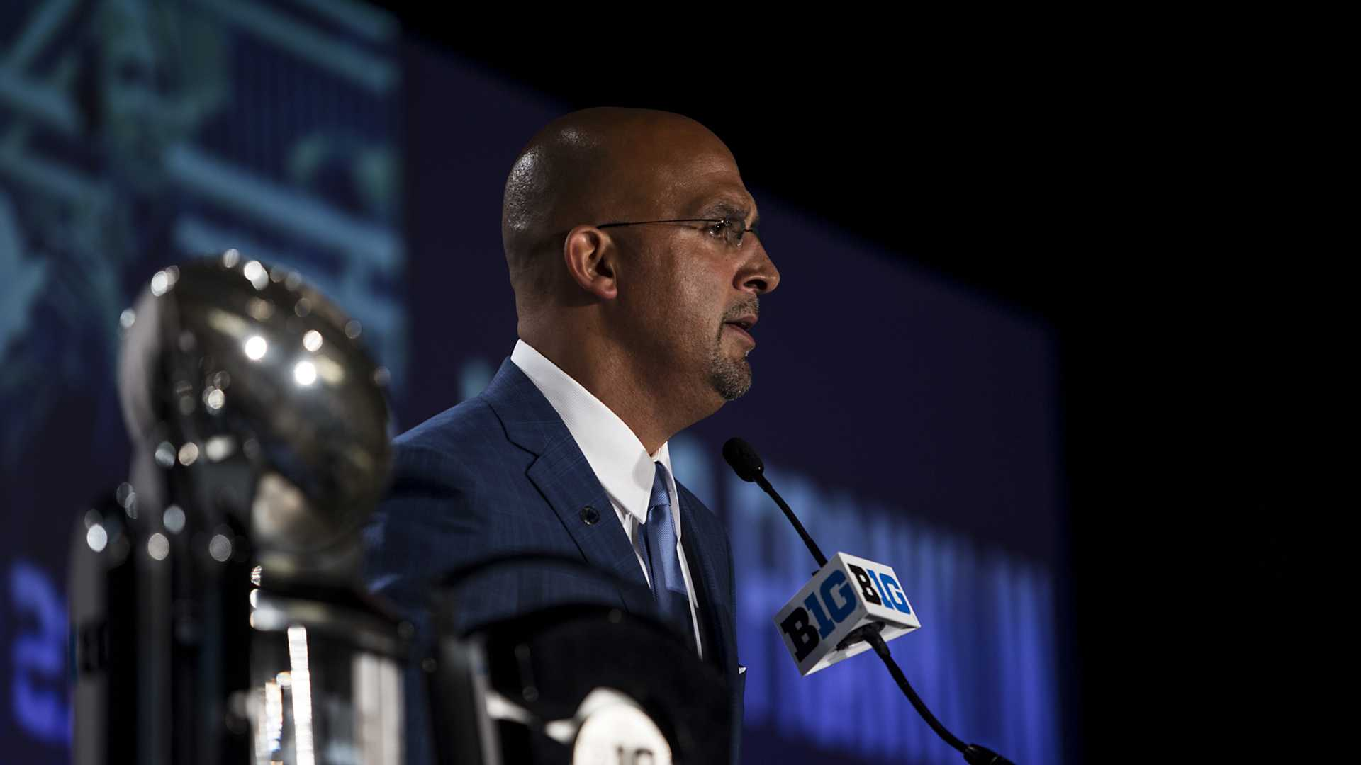Penn State Head Coach James Franklin addresses the media during Big Ten Football Media Days in Chicago on Monday, July 23, 2018. (Nick Rohlman/The Daily Iowan)
